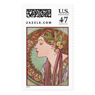 Alphonse Mucha Laurel Art Nouveau Postage Stamps L
