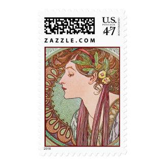 Alphonse Mucha Laurel Art Nouveau Postage Stamps M