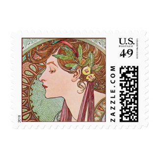 Alphonse Mucha Laurel Art Nouveau Postage Stamps S
