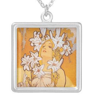 Alphonse Mucha - Lily - Art Nouveau Silver Plated Necklace