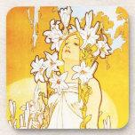 Alphonse Mucha Lily Coasters