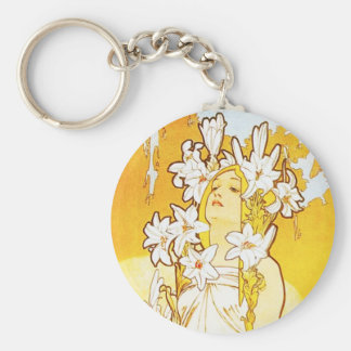 Alphonse Mucha Lily Key Chain