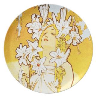 Alphonse Mucha Lily Plate