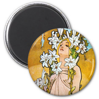 Alphonse Mucha - Lily - White Border Magnet