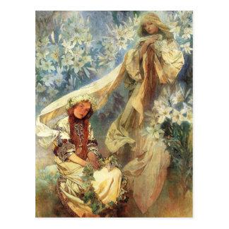 Alphonse Mucha Madonna of the Lilies Postcard