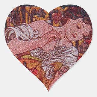 Alphonse Mucha Menu Heart Sticker