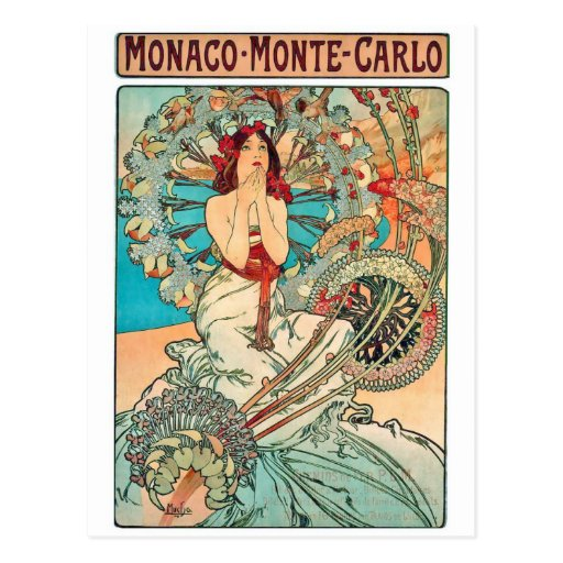 Alphonse Mucha Monaco, Monte-Carlo, 1897 Postcards