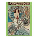 Alphonse Mucha  ~ Monaco Monte Carlo Art Nouveau Postcard