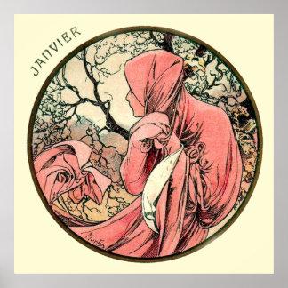 Alphonse Mucha Month Of January Poster
