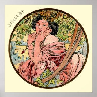 Alphonse Mucha Month Of July Poster