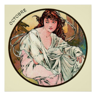 Alphonse Mucha Month Of October Poster