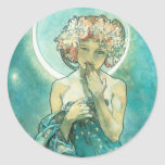 Alphonse Mucha Moonlight Clair De Lune Art Nouveau Classic Round Sticker at Zazzle