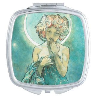 Alphonse Mucha Moonlight Clair De Lune Art Nouveau Makeup Mirror