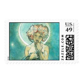 Alphonse Mucha Moonlight Clair De Lune Art Nouveau Postage