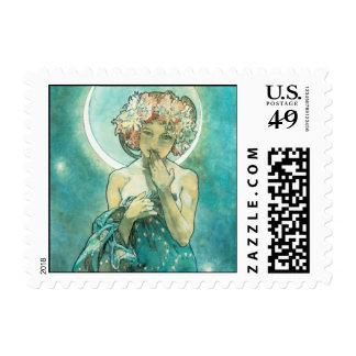 Alphonse Mucha Moonlight Clair De Lune Art Nouveau Postage Stamp