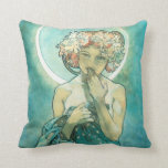 Alphonse Mucha Moonlight Clair De Lune Art Nouveau Throw Pillow