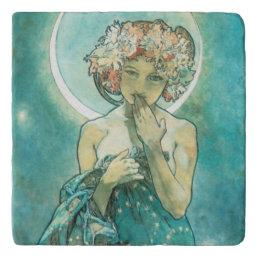 Alphonse Mucha Moonlight Clair De Lune Art Nouveau Trivet