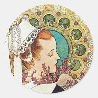 Alphonse Mucha Nurse Maid Classic Round Sticker