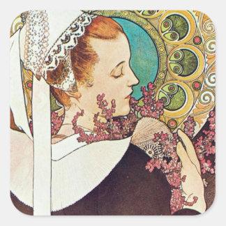 Alphonse Mucha Nurse Maid Square Stickers