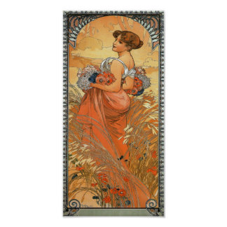 Alphonse Mucha Painting - Woman Holding Flowers Posters