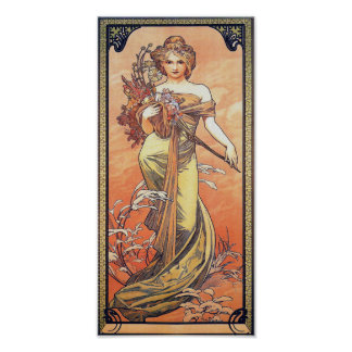 Alphonse Mucha Painting - Woman Holding Flowers Poster