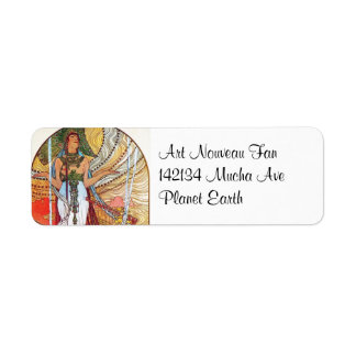 Alphonse Mucha Peacock art Label