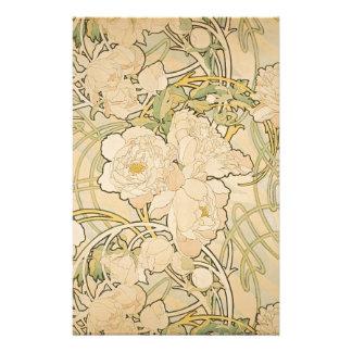 Alphonse Mucha Peonies Peony Roses Fawn 1897 Stationery