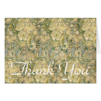 Alphonse Mucha Peonies Thank you Card