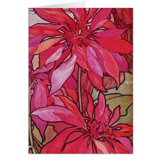 Alphonse Mucha Poinsettias Custom Christmas Card