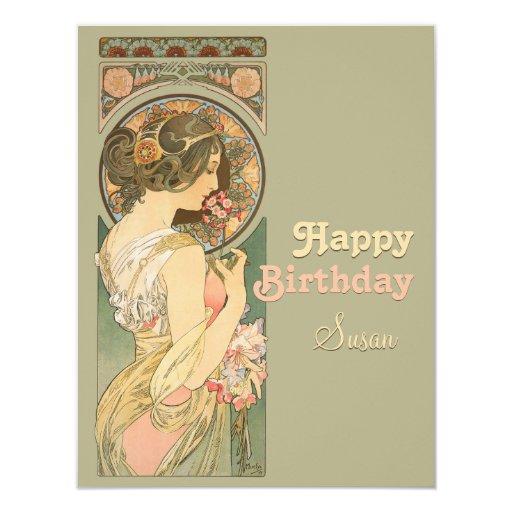 Alphonse Mucha Primrose CC0638 Birthday Card
