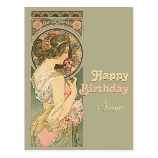 Alphonse Mucha Primrose CC0637 Birthday Postcard