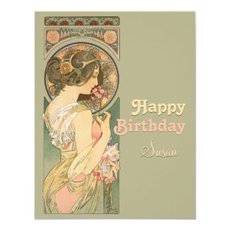 Alphonse Mucha Primrose CC0638 Birthday Greeting 4.25x5.5 Paper Invitation Card