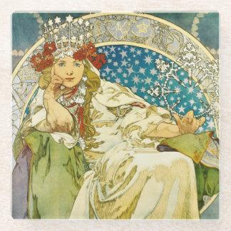 Alphonse Mucha Princess Hyacinth Art Nouveau Glass Coaster