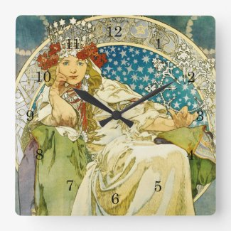 Alphonse Mucha Princess Hyacinth Art Nouveau Wall Clock