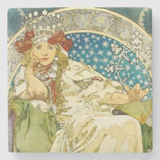 Alphonse Mucha Princess Hyacinth Art Nouveau Stone Coaster