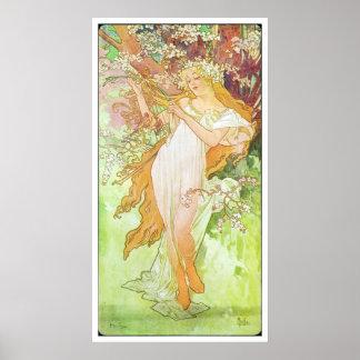 Alphonse Mucha Printemps/Spring, 1896 Poster