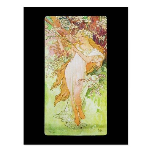 Alphonse Mucha Printemps Spring Postcard