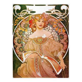 Alphonse Mucha, Reverie/Daydream, 1896. Postcard