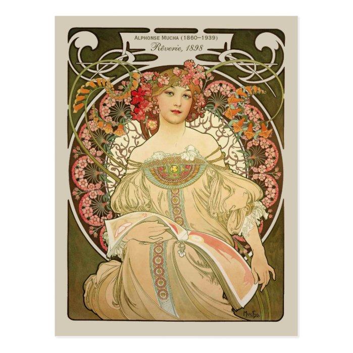 Alphonse Mucha Rêverie Daydream CC0877 Art Nouveau Postcard