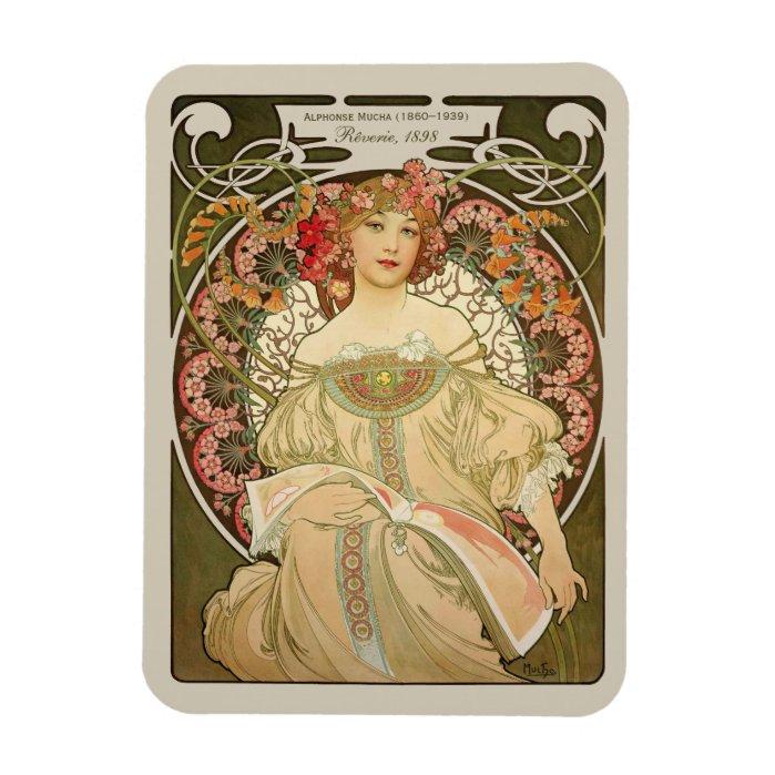 Alphonse Mucha Rêverie Daydream CC0878 Art Nouveau Magnet