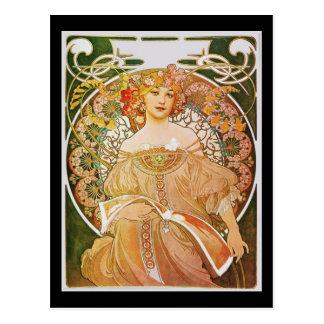 Alphonse Mucha Reverie Daydream Postcard