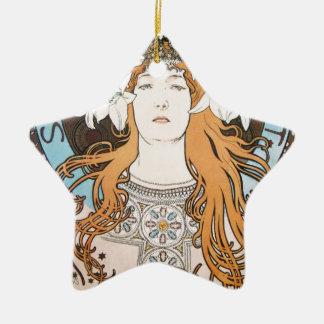 Alphonse Mucha Sarah Bernhardt art nouveau kind Ceramic Ornament