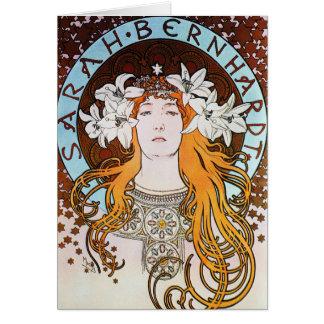 Alphonse Mucha Sarah Bernhardt Vintage Art Nouveau Card