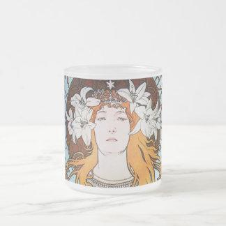 Alphonse Mucha Sarah Bernhardt Vintage Art Nouveau Frosted Glass Coffee Mug