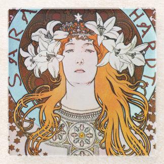 Alphonse Mucha Sarah Bernhardt Vintage Art Nouveau Glass Coaster
