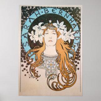 Alphonse Mucha Sarah Bernhardt Vintage Art Nouveau Posters