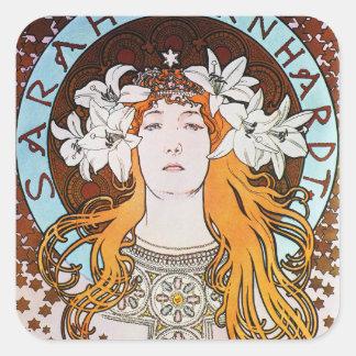 Alphonse Mucha Sarah Bernhardt Vintage Art Nouveau Square Sticker