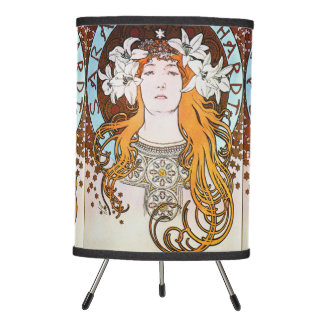 Alphonse Mucha Sarah Bernhardt Vintage Art Nouveau Tripod Lamp