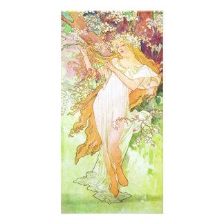 Alphonse Mucha Spring Floral Vintage Art Nouveau Card