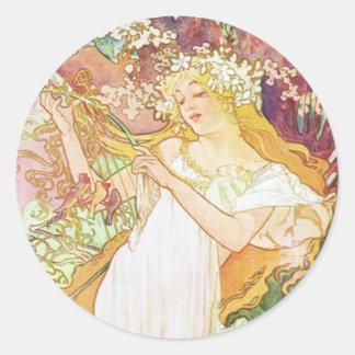 Alphonse Mucha Spring Floral Vintage Art Nouveau Classic Round Sticker